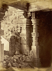 Close view of pillars in the Great (Mahadeva) Temple, Patan (Patna), Khandesh District